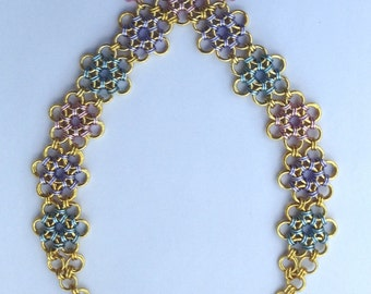 Pastel Flower Chainmaille Necklace