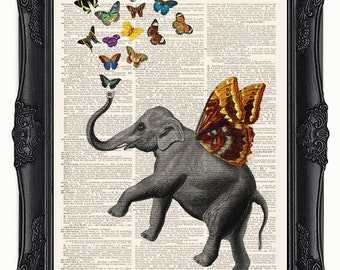 Elephant dictionary art print-Flying elephant in love with butterflies! Printed on a upcycled vintage dictionary book page.
