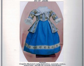 SALE COMPLETE KIT 18 Inch Historical Doll 18th Century Jacket Trimmed Petticoat Neckerchief Dress Clothes Felicity American Girl Past Crafts