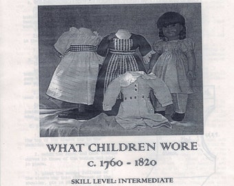 16 or 18 Inch Doll Sewing Pattern What Children Wore 1760-1820 18th 19th Century Regency American Girl Type Josephina Felicity Past Crafts