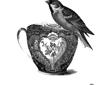 Bird and tea cup Wickedly Lovely Skin Art TemporaryTattoo