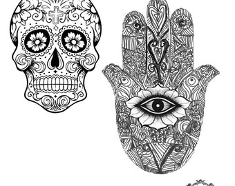Sugar Skull and Hamsa Hand , Body Art, Boho tattoos, Festival tattoos, WickedlyLovely Skin Art Temporary Tattoo