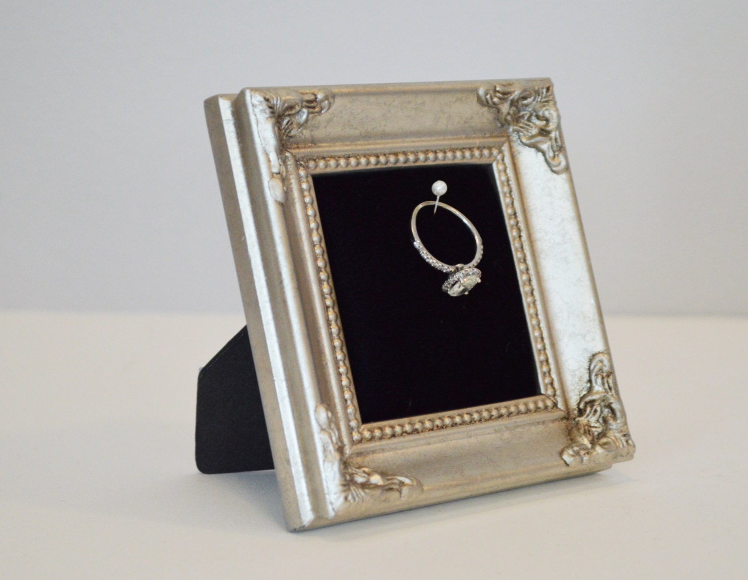 antiqued square wedding ring holder engagement ring holder