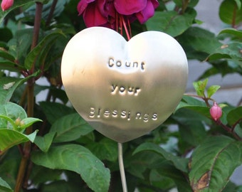 Count Your Blessings - Garden Marker, Garden Stake, Plant Poke made of Stainless Steel (No Rust!).