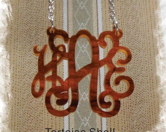 Monogram Necklace - Vine Monogram 3 Initial Name Acrylic Monogram Jewelry - Tortoise Shell Necklace
