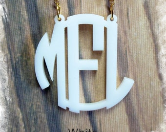 Monogram Necklace - Circle Monogram 3 Initial Name Acrylic Monogram Jewelry , Bridesmaids Gift