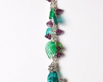 Purple & Green Flower Handbag Charm