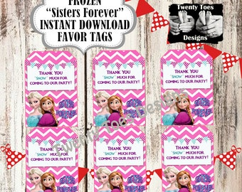 """FROZEN """"Sisters Forever"""" Party FAVOR TAG"""