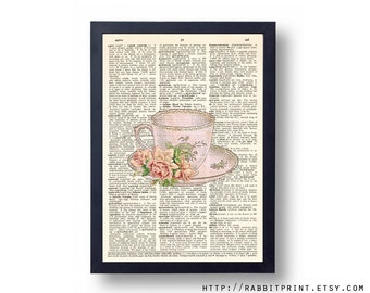 Vintage Pink Tea cup Dictionary art print, Teacup Wall Art Print, 8x10 Wall Decal, illustration old dictionary page print, Wall decor