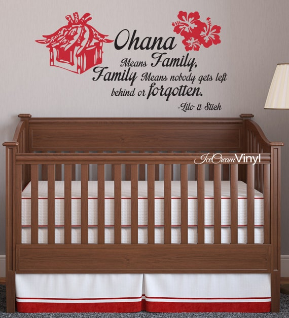 Words Wall Decal Quote Decal Ohana Means Family Wall Decal Grils Boys Bedroom Nursery Playroom Vinyl Quote