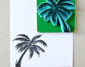Palm tree rubber stamp, hand carved stamp, summer decor, tropical decor, beach theme
