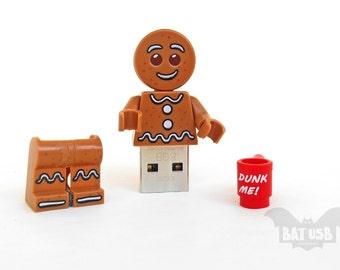Gingerbread Man usb flash drive 8/16/32/64GB - Memory Stick - Lego® original Minifigure - Gingerbread Man with mug - Lego usb with legs cap