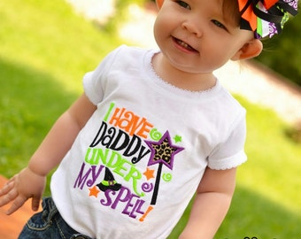 I have Daddy under my Spell - Girls Applique White Halloween Shirt or Bodysuit and Matching Hair Bow Set