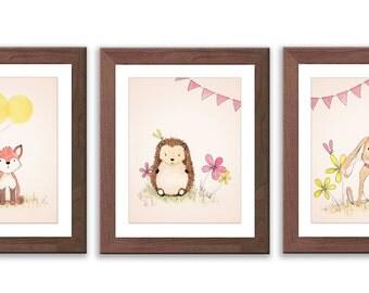 Woodland Nursery - Nursery Art - Rabbit, Fox and Hedgehog Nursery Art Prints - Set of three PRINTS - Baby Girl Nursery - S038B