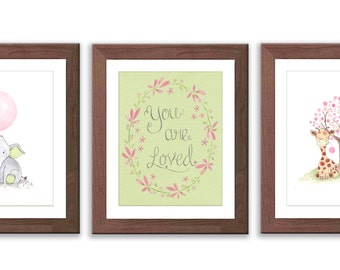 Set of Three Nursery Art Prints - Elephant and Giraffe Nursery Decor - Baby Girl Nursery - Pink and Green Nursery - Watercolor - S036
