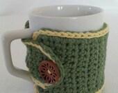 Coffee Mug Cozy in Sage with Yellow Trim