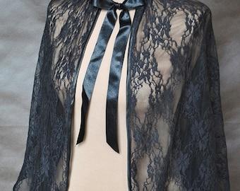 Gothic Victorian Vampire Elegant Burlesque Lolita black LACE CAPE bolero Glamour