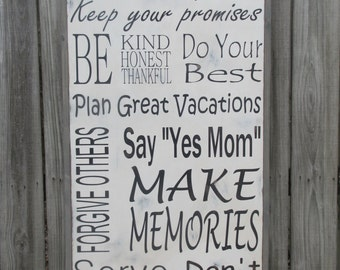 "Personalized  Family Rules Wooden Sign Large Wood Sign Customizable  25""x49"""
