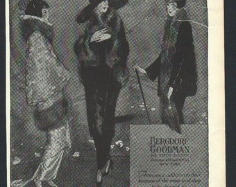 THREE FOR FOUR Art Deco era fashion print from Vogue magazine, front & back - fash test 115