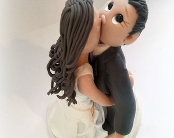 Custom Surprise Kiss Wedding Cake Topper