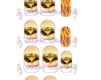 Hamburger with a side of Fries Nail Wraps