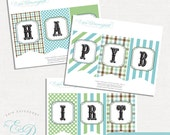 Custom Little Man Happy Birthday Name Banner | Printable