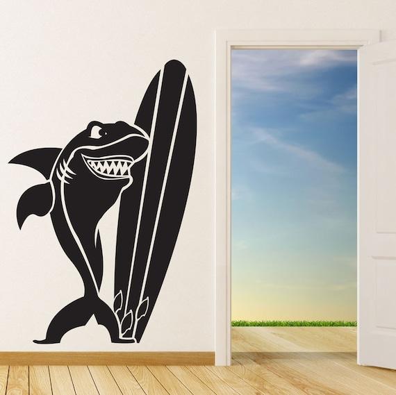 items similar to surfing shark surf wall decal decor art sticker vinyl mural surf decor surf. Black Bedroom Furniture Sets. Home Design Ideas
