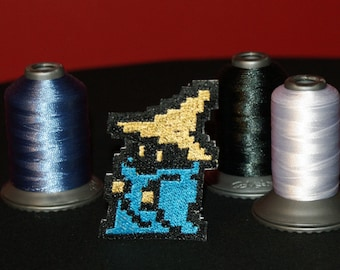8 Bit Final Fantasy Black Mage Shiny Metallic Embroidery Iron On patch.