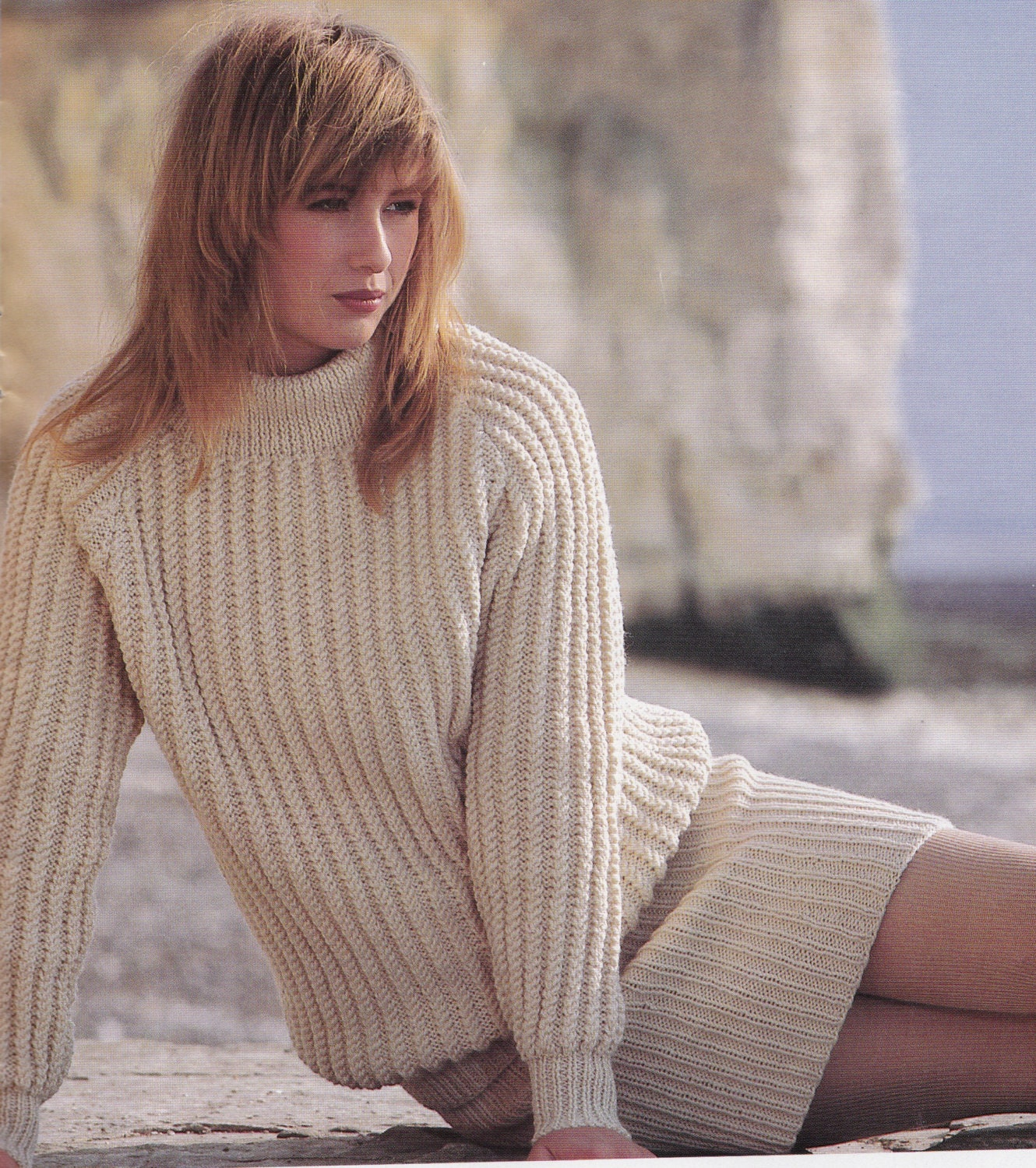 Knitting Pattern Aran Jumper : Vintage Knitting Pattern Ladies Aran Jumper & by LucysPatternBox