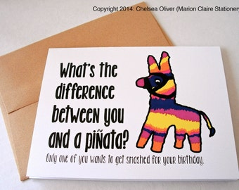 Mature Birthday Card - Funny Birthday Card - Drinking Pinata