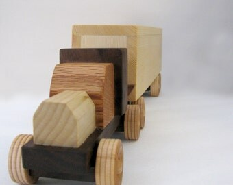 Wooden Toy Semi Truck with Box Trailer - All natural kid's toy for boys and girls - Gift for children - Reclaimed wood