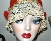 Charming AUTHENTIC 1920's Orange Silk Crepe & Lace Flapper Girl's Boudoir Hat