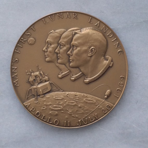 APOLLO 11 Lunar Landing JFK Bronze Commemorative Medal 1969