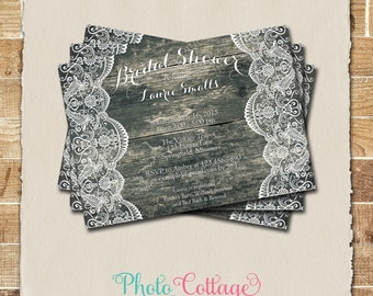 Bridal Shower Invitation, Rustic Wood and Lace Invitation, Wood Invitations, Bridal Shower Invites, Country Invitation, BS145