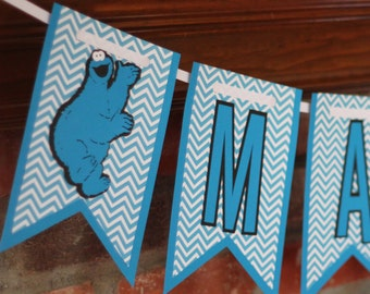 Blue Cookie Monster Banner or Blue Grover Banner with Blue Chevron Cookie Monster Birthday Banner Cookie Monster Birthday Banner