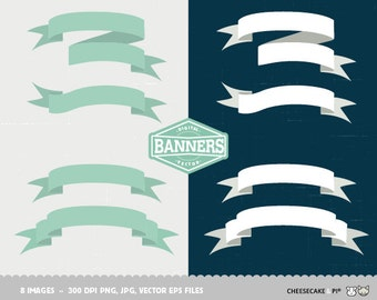 Digital banners clipart collection: 8 Vector, PNG, JPG banners / Wedding clip art / scrapbooking CP0017