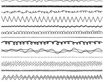 Doodle Borders Clipart Set - Commercial Use - 14 Doodle Vector Clip Art -  png, jpg & eps - Instant Download