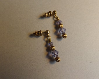 065 Purple Crystal and Gold Earrings
