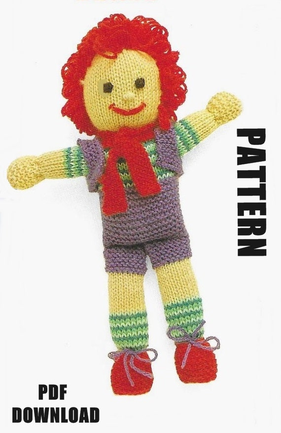 Knitted Doll Knitting Pattern Rag Doll Happy Harry PDF