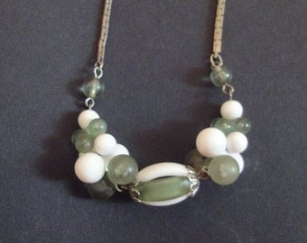 Vintage Necklace with Green and White Beads Vintage Costume Jewelry