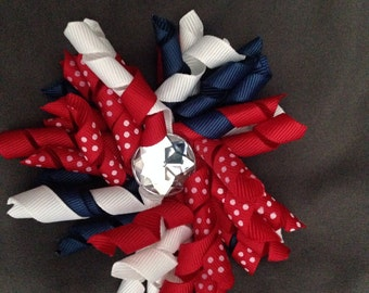 Red, White, and Blue Curly Ribbon Hair Clip