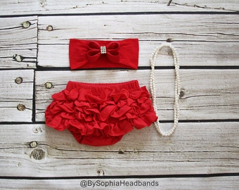 Red Ruffle Back Bloomers and Headband, Baby Flower Headband, Cotton Baby Bloomers, Christmas Headband, Red Baby Headband, Diaper Cover, 2222