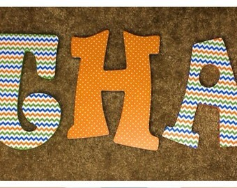 Custom Decorated Wooden Letters - Green, Blue, and Orange