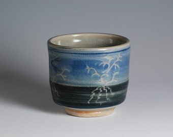 Wine Glass or Tea Cup with Carved Tree