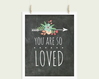 You Are So Loved Shabby Chic Chalkboard Digital Print Instant Art INSTANT DOWNLOAD