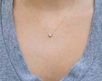 Dainty gold necklace etsy cz necklace dainty gold necklace simple gold necklace layering necklace minimalist necklace aloadofball Image collections