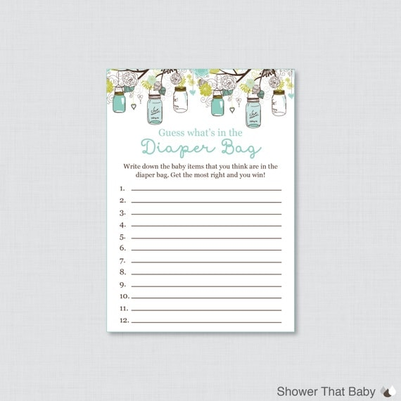 baby shower diaper bag game printable guess what 39 s in the diaper bag
