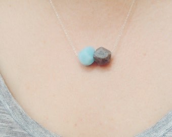 Sterling Silver Necklace with Geometric Light Blue + Granite Clay Beadwork