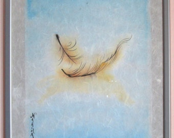Essence - Feather falling in the Water - Watercolor on Rice Paper - Original Painting