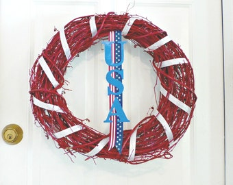 Fourth of July Wreath July 4th USA Patriotic décor Grapevine wreaths Holiday wreaths 4th july decorations Door wreaths Independence day